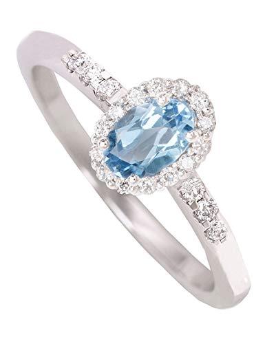 MyGold DUZIERD Topaas Ring witgoud 750 goud (18 karaat) met 20 diamanten 0.16 ct blauwe topaas maat 52 Fire R-06733-G511-DIA05C/H/S2-0,16ct-BLU-W52
