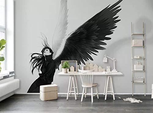"""3D Zwarte Engel WG0516 Behang Afdrukken Decal Deco Binnen Muur Muurschildering Zelfklevend Behang AJ WALLPAPER NL Muzi (Geweven papier (lijm nodig), 【205""""x114""""】520x290cm(WxH))"""