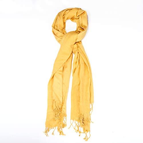 Lenço Pashmina Algodão e Viscose (Amarelo)