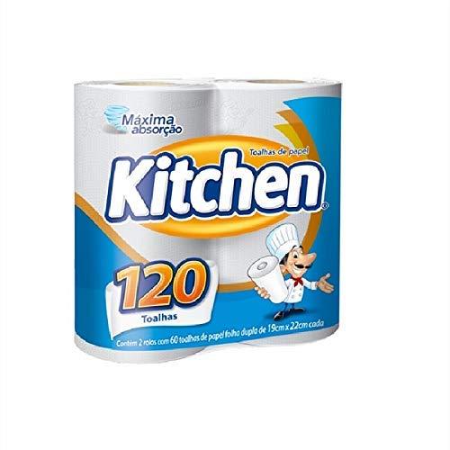 Papel Toalha Kitchen Folha Dupla - Pack com 2 rolos de 60 unidades de 19x22 cm cada