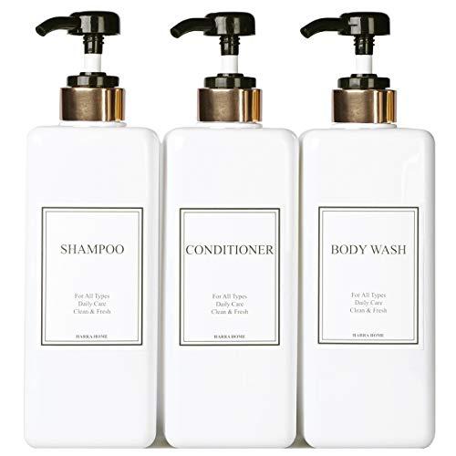 HARRA HOME Modern Gold Design Pump Bottle Set 27 oz Refillable Shampoo and Conditioner Dispenser...