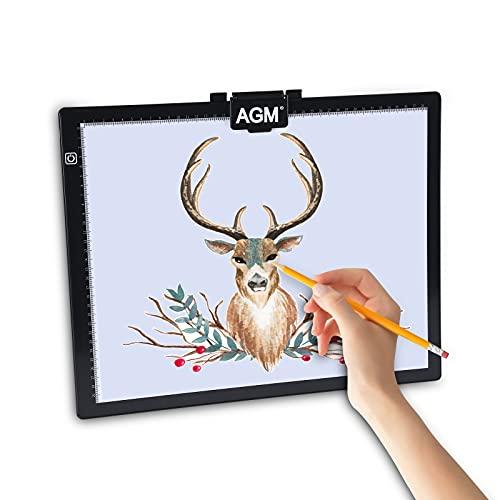 AGM Lavagna Luminosa A3,ultra Sottile 345*430*7mm,controllo Touch, Regolazione Continua Della Luminosità, Interfaccia Type-c, Adatta Per Tatuaggi, Disegno Artistici, Bozzetti, Animazione