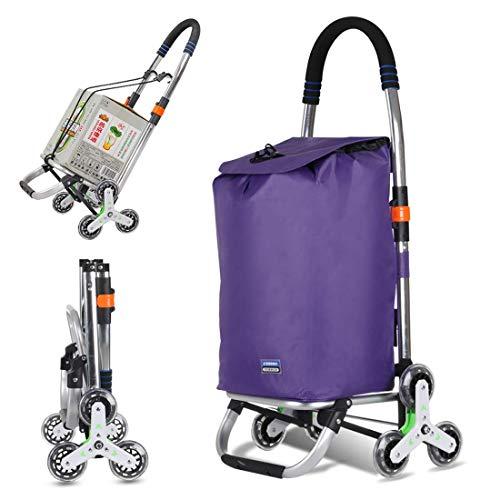 Carrito de compras Carrito de compras plegable,carrito para subir escaleras Carrito de supermercado Carrito de servicio de lavandería con rueda y bolsa de lona impermeable extraíble,50 kg de capacida