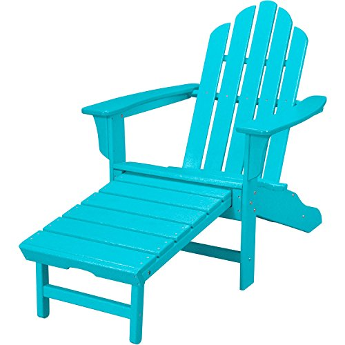 Hanover Outdoor Furniture HVLNA15AR All Weather Contoured Adirondack Chair with Hideaway Ottoman, Aruba