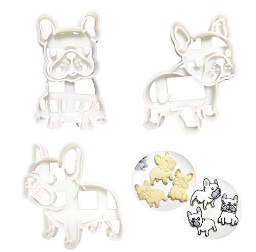 French Bulldog Cookie Cutters Set Shape Mold 3pcs, Dog Treats Cutter