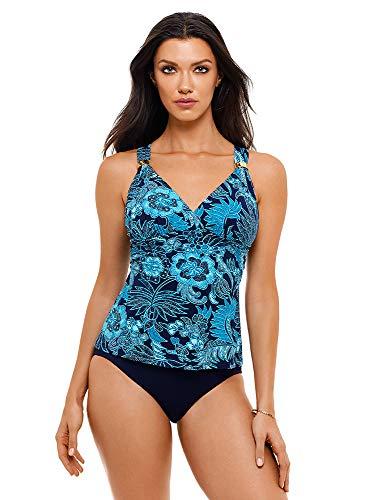 Amoressa Women's Swimwear Blue Jasmine Sevilla Tankini Bathing Suit Top, Blue/Multi, 06