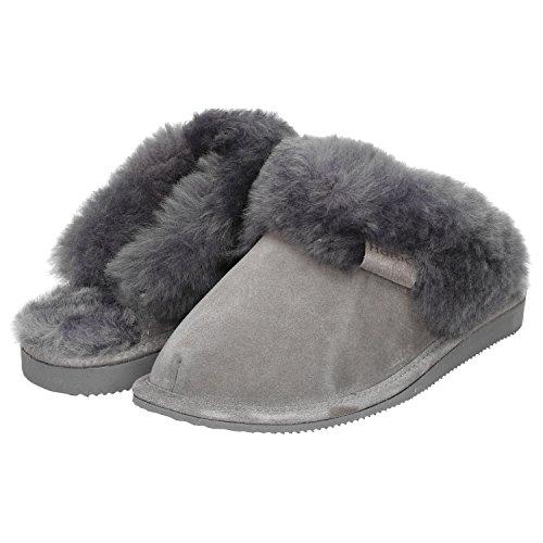 Haftic Damen Hausschuhe Leder Lammfell Warm Winter Gefüttert Geschlossen Atmungsaktiv Weiche Sohle Handgemacht Schafswolle Schlappen Pantoffeln Schuhe (37, Grau)