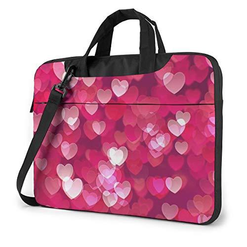 Valentine's Day Love Heart Laptop Bag Briefcase Shoulder Mesenger Bag for Women Men 15.6 Inch