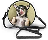 Bolso redondo mujer Women's Summer Round Bag Chihuahua Dog Fashion Crossbody Shoulder Handbag Sling Purse Sling Bag