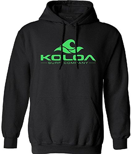 Koloa Surf Classic Wave Logo Surf Hoodie, Hooded Sweatshirt-M-Black/Green