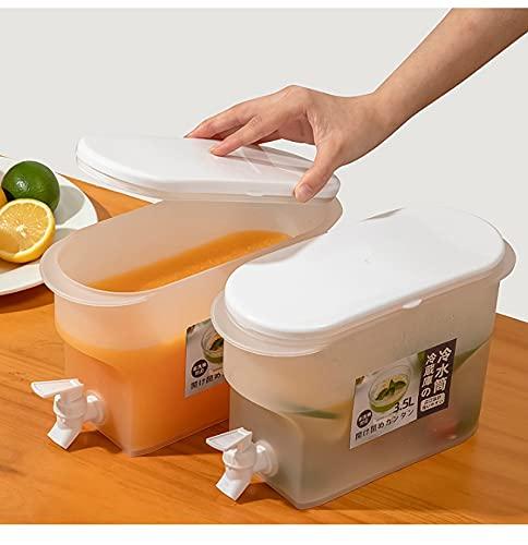 Dispensador de bebidas, con abrazadera de bloqueo Dispensador de bebidas - Frigorífico de 3.5L Hervidor de frío con cucharón de limonada de tetera de fruta de grifo, con espiga de flujo fácil para al