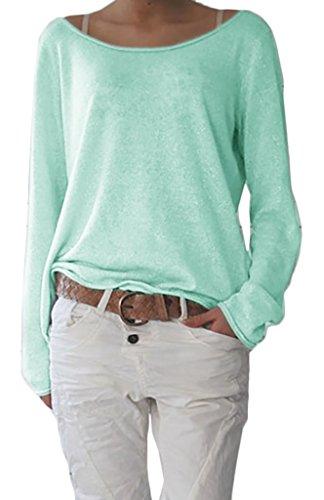 Damen Sexy Rundhalsausschnitt Langarm Lose Bluse Strickpulli Hemd Shirt Oversize Sweatshirt in vielen Trend Farben Tops S/M L/XL (632) (S/M, Hellmint)