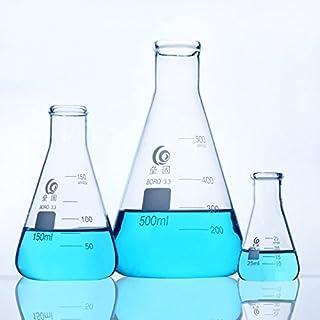Glass Erlenmeyer Flask Narrow Mouth Erlenmeyer Flasks with Heavy Duty Rim 3.3 Borosilicate Glass 50ml