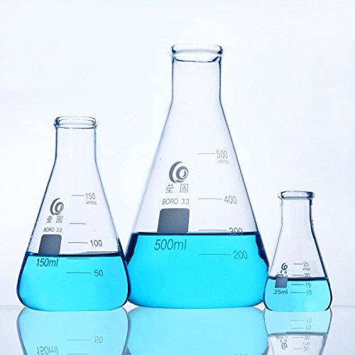 Erlenmeyer - Fiaschetta in vetro borosilicato 3,3 graduato conico a bocca stretta Erlenmeyer boccetta conica misurino fiaschetta chimica 25 ml - 3000 ml (50 ml)