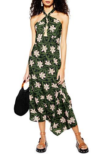 Topshop Hibiscus Floral Hawiian Halter Neck Midi Dress for Women in Forrest Green, US 8 (UK 12)