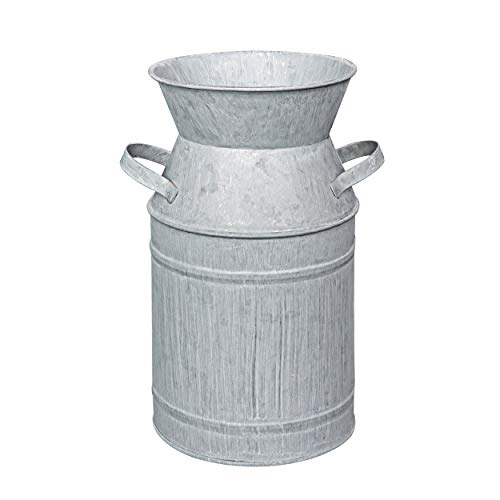 Soyizom Galvanized Finish Bauernhaus Vase Metall Milchkanne Krug Zinn Behälter mit Griff, dekorative Krug Blumenvase als Tisch Herzstück für Hochzeitsessen Küche Büro Wohnzimmer Dekor - 7,5