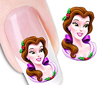 Elegant Nail Art-Decal Fun Nail Stickers-Character Decorations-Cartoon Tattoo-Nail Sticker Tropical Flowers- Water Transfer-Manicure-Acrylic Gel Nail Decoration Party-Child -Teen-Adult (belle)