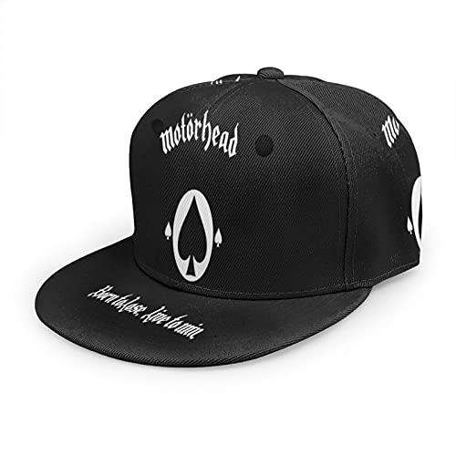 IconSymbol Gorra de béisbol de metal pesado Motörhead Flat Bill 3D Flat Brim Snapback ajustable gorras clásicas sombrero de papá Trucker sombreros para hombres y mujeres negro