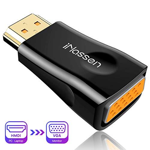 HDMI auf VGA Adapter,iNassen 1080P HDMI zu VGA Konverter (Stecker zu Buchse) Vergoldete Computer, Desktop, Laptop, PC, Monitor, Projektor, HDTV,TV Box und andere HDMI-Eingabegeräte -Schwarz