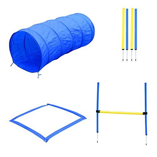 PawHut Hund Agility Set Slalom Hürde Tunnel Training inkl. Tragetasche Übung Blau/Gelb