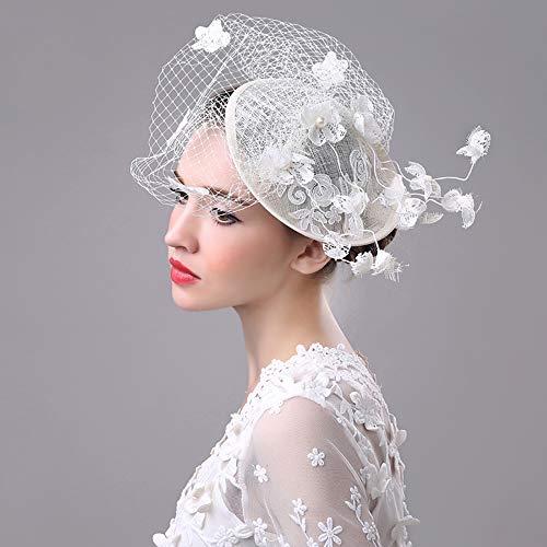 NQN Sombrero de Mujer Fascinante, Sombreros Bordados a Mano de Velo de