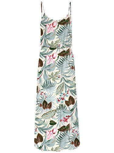 ONLY Damen Onlnova Life S/l Maxi AOP WVN Dress Kleid, Cloud Dancer - Botanic Leaf, 38