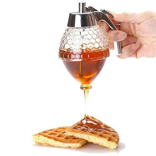 Honey Dispenser | Maple Syrup Dispenser with Stand | Syrup Jar | Honey Pot | Honey Jar Glass