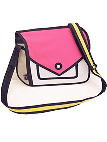 Genius _ Baby 3D Style 2D Zeichnung Cartoon Handtasche Schulter Canvas Messenger Bag Bow Handtaschen, rose