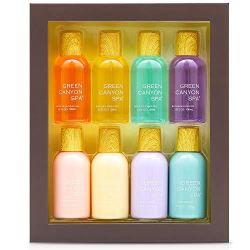 Bad Geschenkset für Frauen Enthält 4 Duftkörperlotion und Duschgel, Beste Weihnachts- und Geburtstagsgeschenke für Frauen-8-Packs, mit Reisegröße, 3,5 Unzen pro Flasche
