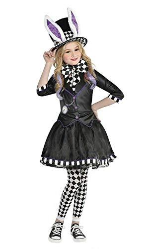 Halloween-Kostüm für Kinder, Mädchen, verrückter Hutmacher, 4-teiliges komplettes Outfit Gr. 7-8 Jahre, schwarz / weiß