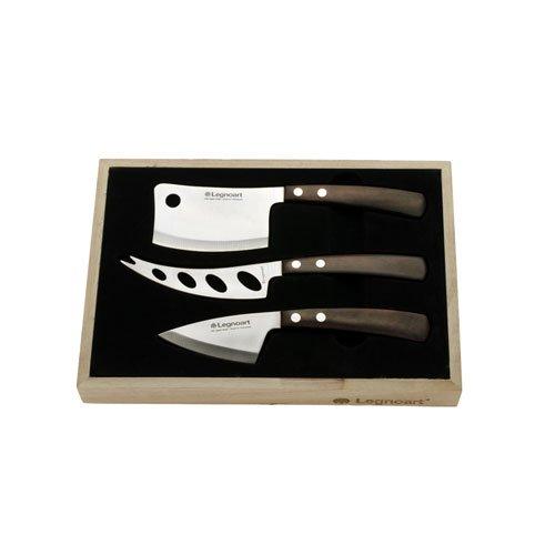 Legnoart LATTEVIVO Set 3 Käsemesser in Holzgeschenkbox Rotbraun Silber CK10A