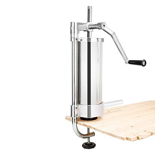 ROVSUN 5LBS/3L Stainless Steel Sausage Stuffer Maker Machine, Vertical Meat Filler Kit, 3 Food-Grade Sausage Tubes, Home Restaurant Commercial Use