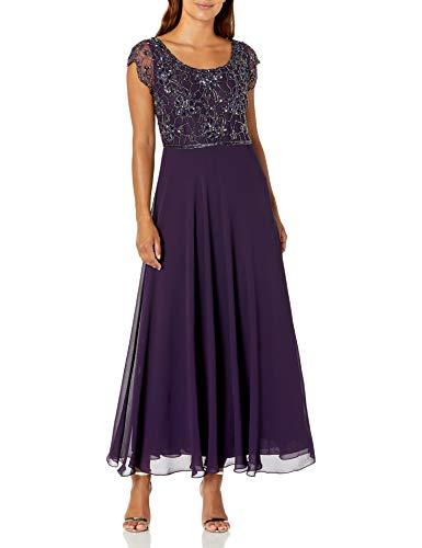 J Kara Women's Petite Long Dress with Flutter Sleeve, Plum/Shaded, 16P