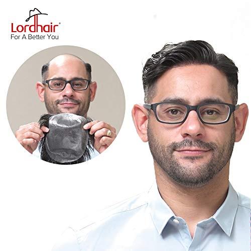 Lordhair - Toupee para hombre de piel fina súper suave para hombre, 100% cabello humano real, color #7 Toupee para hombres (6 colores disponibles)