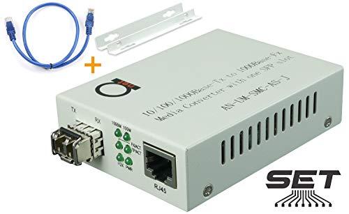 Multimode LC 850 nm Gigabit Fiber Media Converter - Includes SFP 550 m...