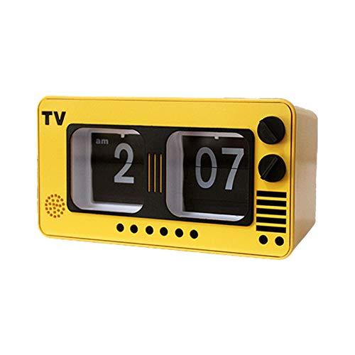 zhiwenCZW Creativo retro nostálgico TV Pagina Flip Despertador Reloj de mesa Diseño simple para casa, dormitorio, salón Dormitorio Decoración para escritorio Equipo para el cronometraje