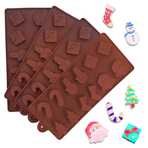 INTVN 4 Stück Silikon Weihnachten Schokoladen Form, Silikonformen mit 6 weihnachtlichen Formen – Backzubehör & Kuchenformen zum Backen von Kuchen, Cupcakes, Muffins, Keksen Eiswürfel-Formen