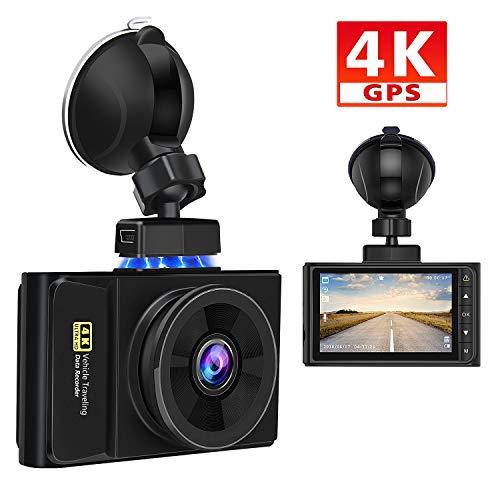 AWESAFE 4K GPS Cámara de Coche Dashcam con Full HD 170 Ángulo, Cámara para Coche con Soporte Magnético con G-Sensor, Detección de Movimiento, Grabación en Bucle y Visión Nocturna