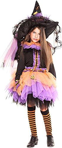 chiber - Costume da Strega Deluxe per Bambine (Taglia 10)