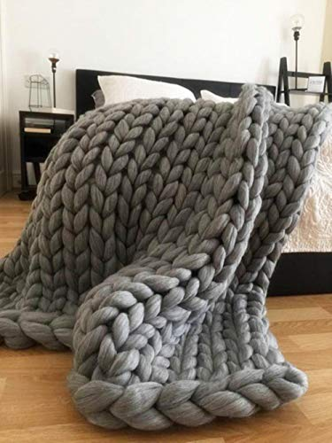 LASISZ Fashion Hand Chunky Wool Knitted Blanket Thick