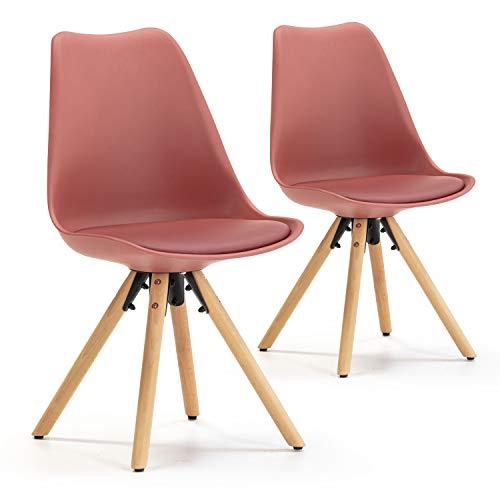 VS Venta-stock Set di 2 sedie per tavola da Pranzo Jeff Stile Nordico Rojo, Certificazione SGS, 54 cm (Larghezza) x 49 cm (profondità) x 84 cm (Altezza)