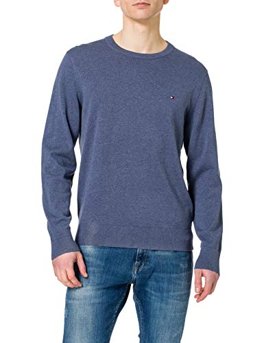 Tommy Hilfiger Organic Cotton Blend Crew Neck Maglione, Faded Indigo Heather, XXL Uomo