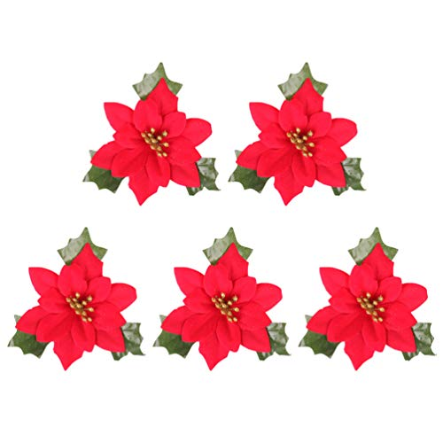 Holibanna künstliche weihnachtsblumen roter weihnachtsstern glitter puder dekorativ mit grünen...
