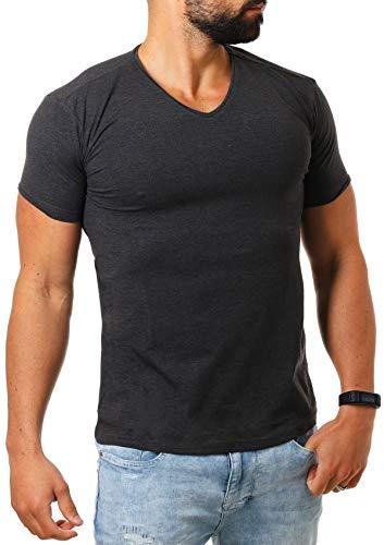 Young & Rich Herren V-Ausschnitt T-Shirt einfarbig körperbetont mit Stretchanteilen Uni Basic V-Neck Tee, Grösse:L, Farbe:Dunkelgrau