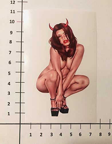 PIN UP SEXY Devil Girl Aufkleber Sticker Porn Nude Decal Lips High Heels Pu096