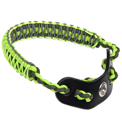 SUNYA Archery Bow Wrist Sling, Paracord Strap Comfortable on Hand.Fit Compound Bow Stabilizer & Recurve. Full Grain Leather Yoke with Brass Accessories (Maclaren Grey Green)