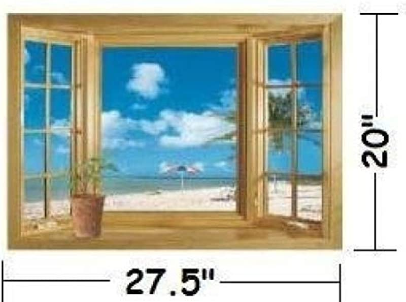 Ouledixun 1 X Ocean View Faux Window Beach Tropical Blue Sea Removable Wall Decor Decal Stickers