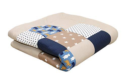 ULLENBOOM ® Baby Krabbeldecke 120x120 cm gepolstert Sand Bär (Made in EU) - Krabbeldecke für Baby mit 100% ÖkoTex Baumwolle, ideal als Babydecke & Spieldecke