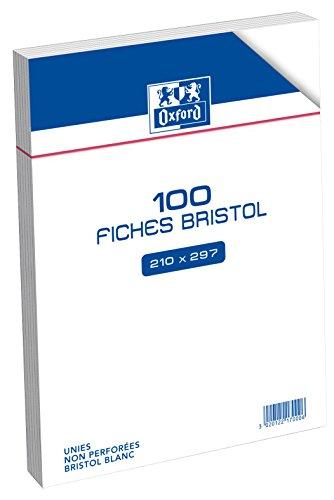 Oxford Fiche bristol Non perforée 100 feuilles A4 (21 x 29,7 cm) Blanc