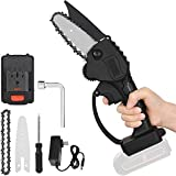 4-Inch Mini Chainsaw with 2Pcs Chain, Portable 24V Electric Chainsaw Household Small Handheld Electric Saw for Wood Cutting Tree Pruning and Gardening